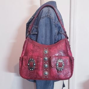 Montana West Red Turquoise Stone Concho Bag